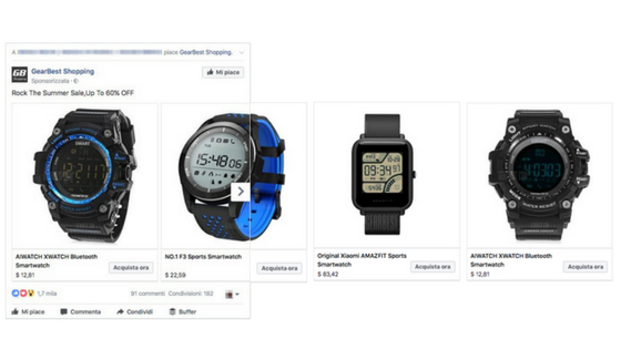 facebook ads carousel ecommerce