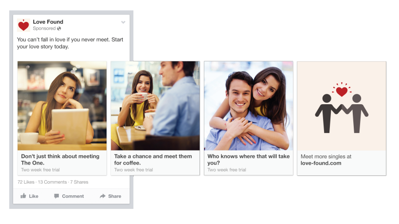 facebook ads carousel story telling